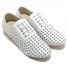 Christian Louboutin Women's Fred Spikes Loafers White