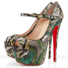 Christian Louboutin Women's Lady Highness 160mm Mary Jane Pumps Green