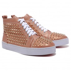 Christian Louboutin Men's Louis Gold Spikes Sneakers Taupe