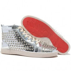 Christian Louboutin Men's Louis Spikes Sneakers Silver