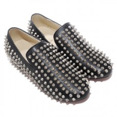 Christian Louboutin Men's Rollerboy Silver Spikes Loafers Black