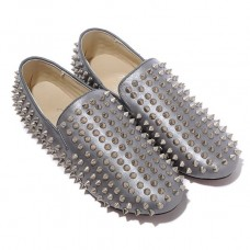 Christian Louboutin Men's Rollerboy Silver Spikes Loafers Grey