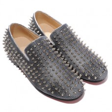 Christian Louboutin Men's Rollerboy Silver Spikes Loafers Grey Sale