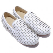 Christian Louboutin Men's Rollerboy Silver Spikes Loafers White