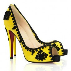 Christian Louboutin Women's Very Brode 120mm Peep Toe Pumps Yellow