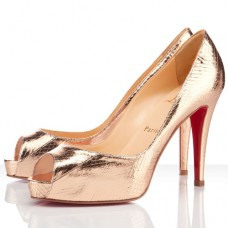 Christian Louboutin Women's Very Prive 100mm Peep Toe Pumps Gold