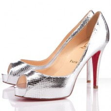 Christian Louboutin Women's Very Prive 100mm Peep Toe Pumps Silver